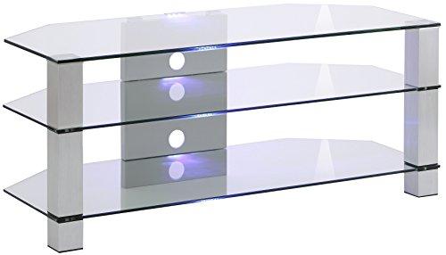 MAJA Möbel Media TV-Rack, Glas, Metall Alu - Klarglas, 120,00 x 50,00 x 50,00 cm