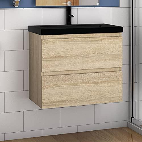 Aica Sanitär Badmöbel Set 60 cm Aalst Vormontieren Unterschrank Waschbecken Schwarz, Waschtisch Farbe:Eiche