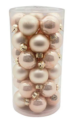 Magic Weihnachtskugeln Glas 4cm, 30 Stück Christbaumkugeln Deko Weihnachten, Farbe: Perle - Champagner Opal/matt