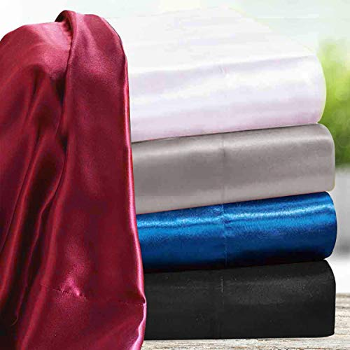 """wavveUziz Satin Sheets Queen Size Grey Satin Bed Sheet Set 16"""" Deep Pocket Silky Satin Sheet Set with 1 Fitted Sheet, 1 Flat Sheet and 2 Pillow Cases- Wrinkle, Fade, Stain Resistant- 4 Piece"""