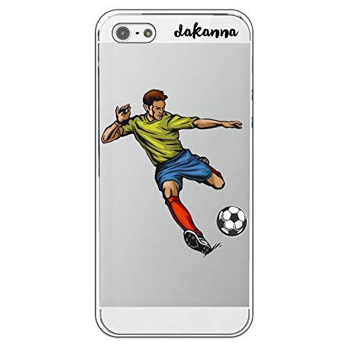 dakanna Funda para iPhone 5-5S - SE   Jugador de Fútbol   Carcasa de Gel Silicona Flexible   Fondo Transparente