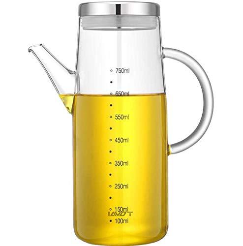 Dispensador de aceite de oliva Botella 750 ml Vinagreras de botella de aceite de vidrio Sin goteo, Contenedor de aceite para aceite de oliva vegetal, Dispensador de aceite de vidrio sin plomo