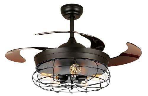 ventilatore da soffitto 6 pale 5 velocità BEL AIR HOME - Ventilatore da soffitto con motore DC 6 velocità serie anticalcare 5xE27 con pale pieghevoli