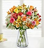 1800Flowers Roses & Peruvian Lilies Bouquet with Clear Glass Vase (Single Bouquet - 16 Stems)