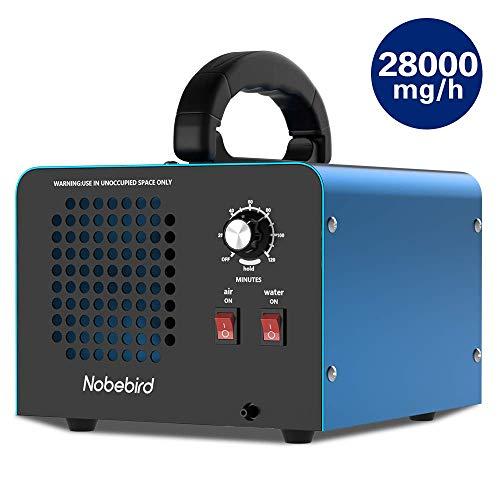 Nobebird Generador de ozono Purificador de Aire, 28.000 MG/h Desodorizador de ozono con Modos de purificación de Aire/Agua, Purifica hasta 300㎡, Elimina el Humo/el Olor de Mascotas/contaminante
