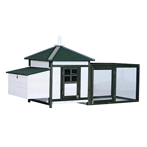 "PawHut 77"" Wooden Weatherproof Backyard Chicken Coop Kit with 2-Part Nesting Box and Run - White/Green"