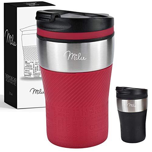 *Milu Thermobecher Isolierbecher Kaffeebecher to go – 210ml 100% Auslaufsicher – Trinkbecher aus Edelstahl – Autobecher doppelwand Isolierung – Thermo Becher – Travel Mug (Rot)*