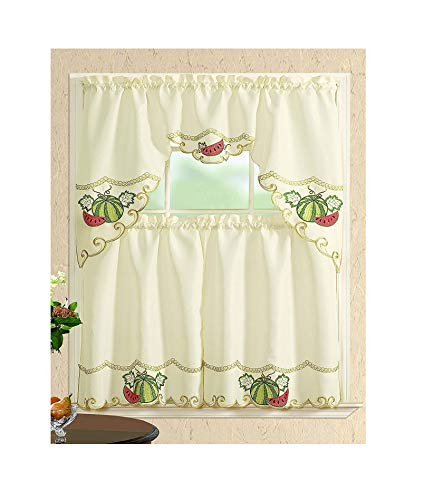 All American Collection Modern Contemporary 3pc Embroidered Home Kitchen Window Treatment Curtain Set (Swag Valance, Watermelon)
