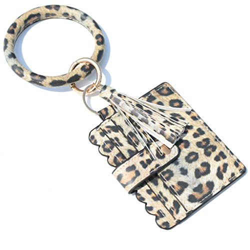 jieGorge Accessory, Large Bracelet Keychain Card Holder Tassel Bangle Key Ring Wristban With Wallet, Clothing Shoes & Accessories (H Free Size)