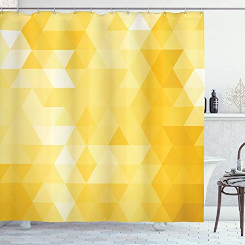 ABAKUHAUS Gelb Duschvorhang, Geometrisches Dreieck, mit 12 Ringe Set Wasserdicht Stielvoll Modern Farbfest & Schimmel Resistent, 175x180 cm, Gelb
