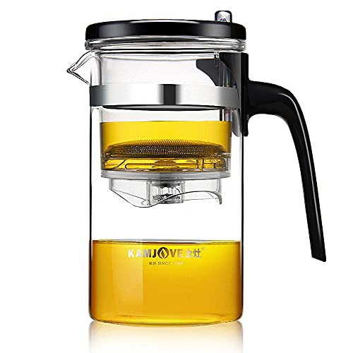 KAMJOVE Theepot 500 ml glazen kan theeservies filterzeef, Since1989 Theepot Kungfutee glas theemaker all-in-one set thee…