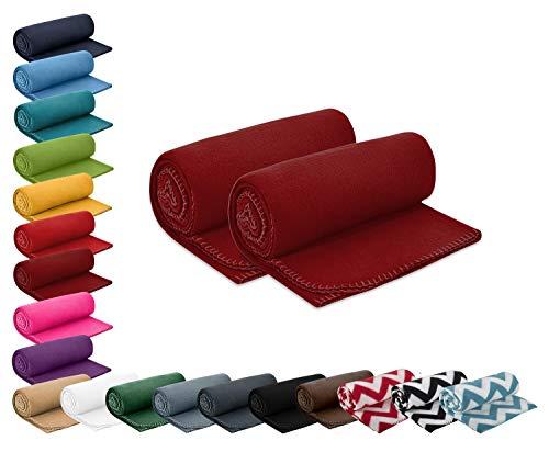 2er Set Polar- Fleecedecke 130x160 cm ca. 400g wertiges Gewicht mit Anti-Pilling Kettelrand Farbe weinrot in vielen bunten Farben