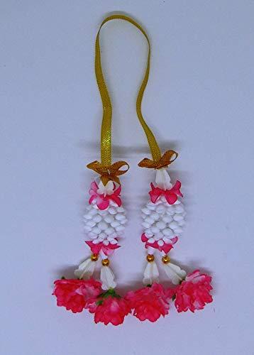 "FUSAP Thai Jasmine Garland Fabric Flower Souvenir Plastic Flower Handmade4"" (Dark Pink)"