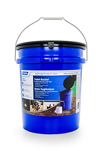 Camco Portable Toilet Bucket with Seat and Lid Attachment - Holds 5 Gallons, Lightweight and Easy to Clean, Great for Camping, Hiking and Hunting and More (41549)