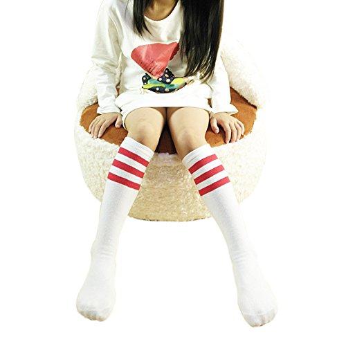 ZUMUii Butterme Chaussettes hautes classiques en coton pour bébé fille garçon 4-15 ans Blanc avec rayures rouges