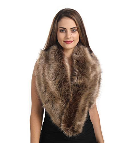 Lucky Leaf Women's Winter Fake Faux Fur Stole Scarf Wrap Collar Shawl Shrug for Wedding Evening Party (Paille)