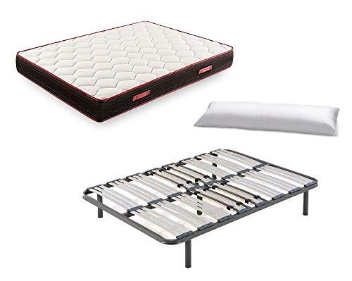 Cama Completa - Somier Multiláminas con Regulador Lumbar con Patas 32 cm + Colchón Memory Fresh 3D + Almohada de Fibra, 135x180 cm
