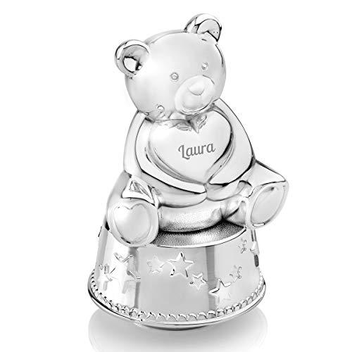 Spieluhr personalisiert und Spardose mit Gravur | edle Bär-Sparbüchse mit Musik und Wunsch-Namen | Zink-Legierung, Silber