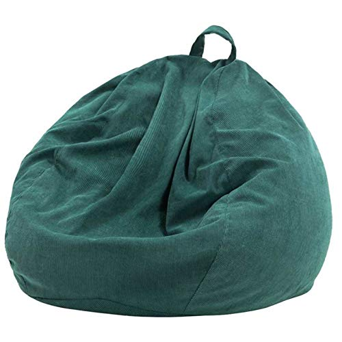 gujiu Lazy-Sofa-Cover-Stuhlabdeckung, Cord-Bohnenbeutel-Recliner-Cover, Bohnenbeutelkissenhocker, verwendet, um Kinder plüscht Spielzeug zu organisieren (Color : Green, Size : 70x80cm)