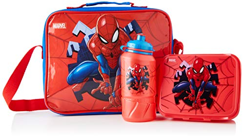 Cerdá - Portameriendas Termico con Botella Infantil y Tupper para Niños de Spiderman - Licencia Oficial Marvel Studios