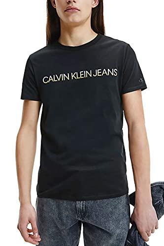 Calvin Klein Jeans Mixed Instit Technique tee Camiseta, CK Negro/Brillante Sunshine Blanco, M para Hombre