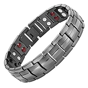 Mens Double Strength Magnetic Elements Therapy Bracelet for Arthritis Pain Relief Adjustable By Willis Judd