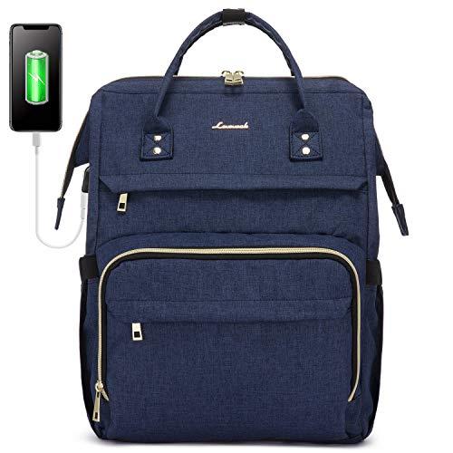 LOVEVOOK Laptoprucksack Damen 17 Zoll, wasserdichte Business Rucksäcke Laptop Backpack, Schulrucksack mit USB Ladeanschluss für Schule Uni Reise, Blau