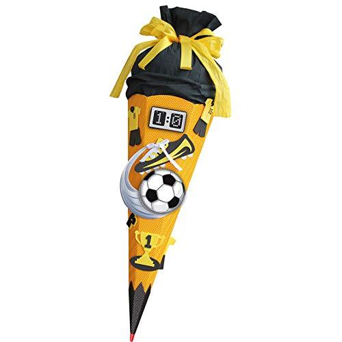 ROTH Schultüten-Bastelset Soccer gelb 68cm 6-eckig Rot(h)-Spitze Kreppverschluss