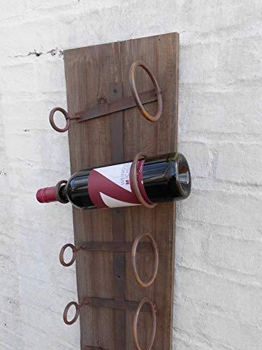 Deko-Impression Wandweinregal Weinregal Weinflaschenhalter Holz u. Eisen massiv 75 cm