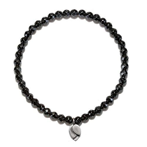 Satya Jewelry Hematite Sterling Silver Lotus Petal Charm Stretch Bracelet