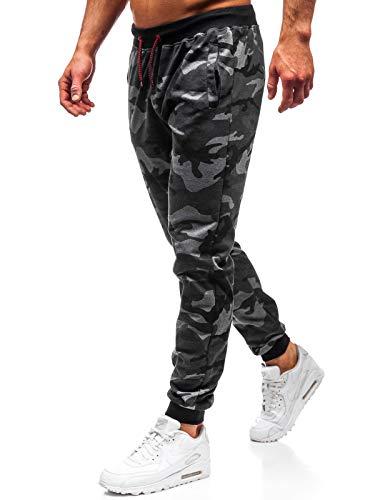 BOLF Hombre Pantalón De Chándal Jogger Diseño Camuflaje Estilo Deportivo J.Style MK19 Gris Grafito XL [6F6]