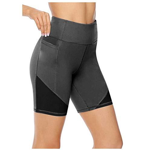 HWTOP Damen Kurze Leggings High Waist Yoga Shorts Schnell Trocknend Trainingshose Laufen Slim Fit Stretch Tummy Control Fitnesshose, Dunkelgrau, XL