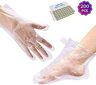Noverlife 200PCS Paraffin Wax Hand & Foot Liner, Paraffin Bath Disposable Gloves and Booties, Clear Plastic Hot Spa Wax Ba...