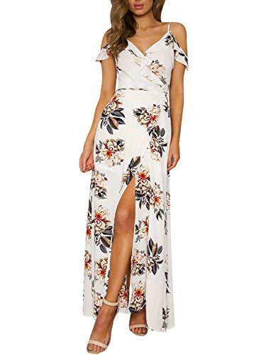 Simplee Apparel Women's Strap Ruffle Cold Shoulder Floral Print Wrap Maxi Dress Beach, White, 4/6, Small