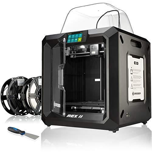 Bresser 3D Drucker REX II WLAN mit 25x28x30cm Bauvolumen, beheizbarer Bauplattform, Druckbett-Levelling, 5