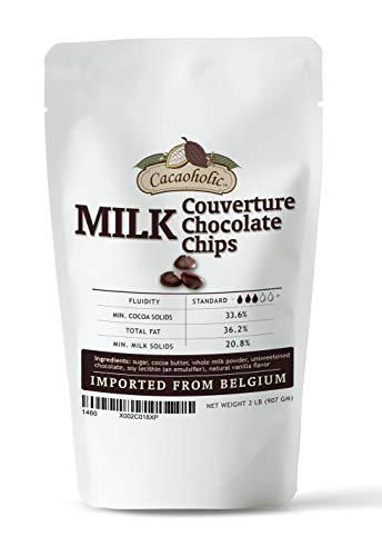 2 LB Cacaoholic Milk Couverture Chocolate Chips | Standard Fluidity | Resealable Stand Up Pouch