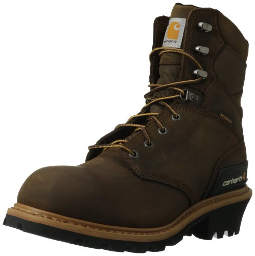 """Carhartt Men's 8"""" Waterproof Breathable Soft Toe Logger Boot CML8160, Crazy Horse Brown, 10 W US"""