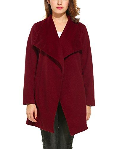 Beyove Damen Mantel Wasserfallkragen Langarm Outwear Jacke Schalkragen Trenchcoat Cardigan mit Taschen Gürtel Herbst Winter Weinrot XXL 44