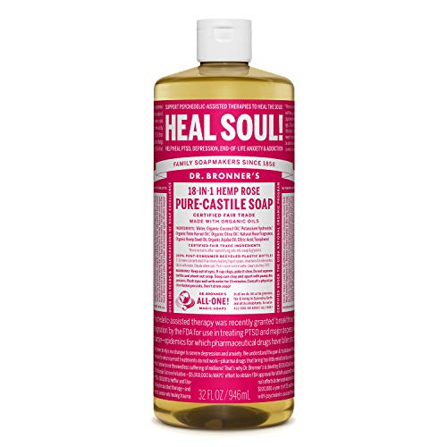 Dr. Bronner's 18 in 1 Hemp Rose Pure-Castile Soap, 32 fl oz/946 ml