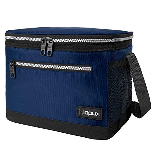 OPUX Lunch Box For Men Insulated Lunch Bag Women Shoulder Strap Side Pockets  Soft Leakproof Lunch Pail for Boys Kids Girls  Navy Lunch Cooler Tote for School Work Office Fits 14 Cans