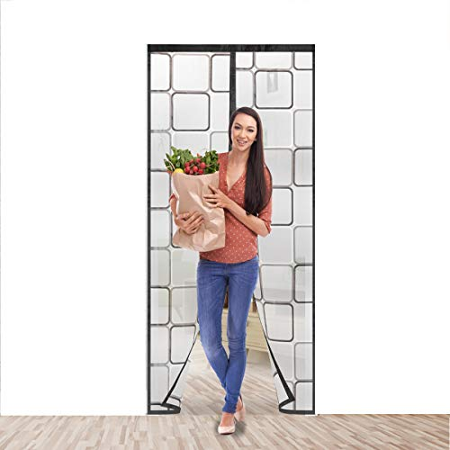 Upgrade Magnetic Insulated Door Curtain , Fits Doors up to 36x 82 Inch ,Magnetic Door Screen Winter Stop Draft Keep Cold Out Door Cover for Patio, Kitchen, Bedroom, Air Conditioner Room(Black)