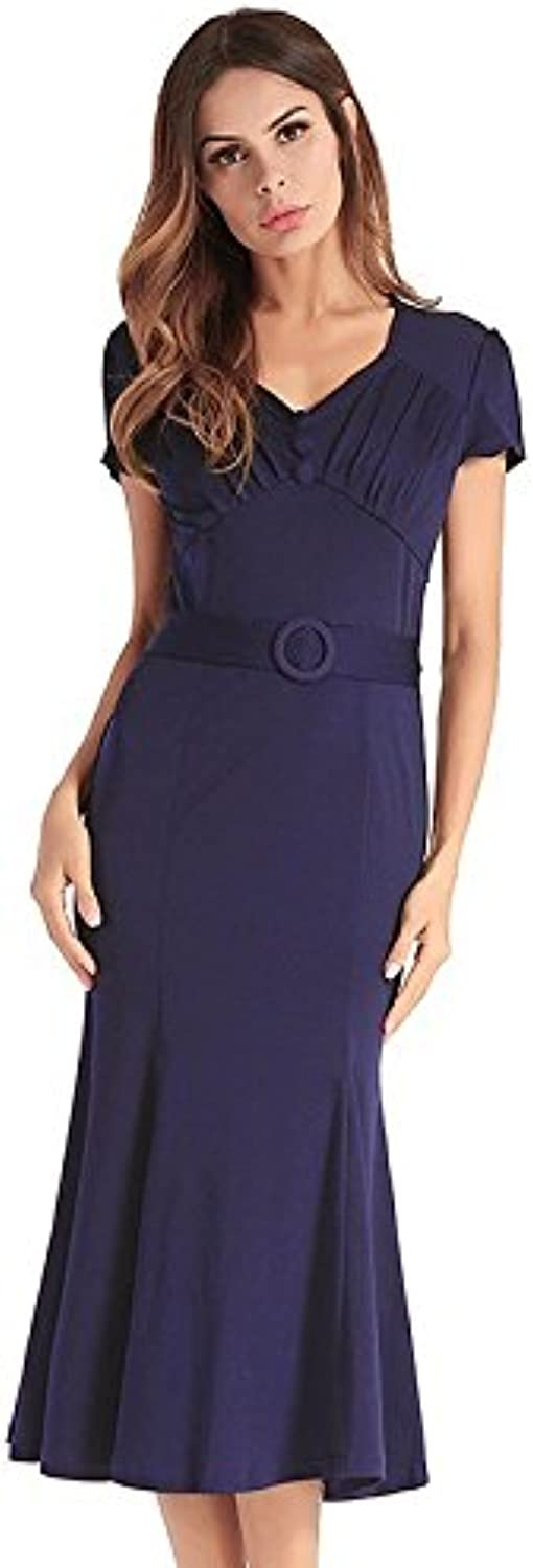 M&Y Party Dresses, Summer Sexy Solid Casual Maxi Dress Elastic V Neck Office Party Stretch Zipper Long Dresses for Women (color   bluee, Size   XXL)