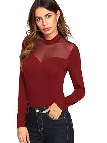 SheIn Women's Long Sleeves Slim Fit See-Through Mesh Top Small Burgundy#1