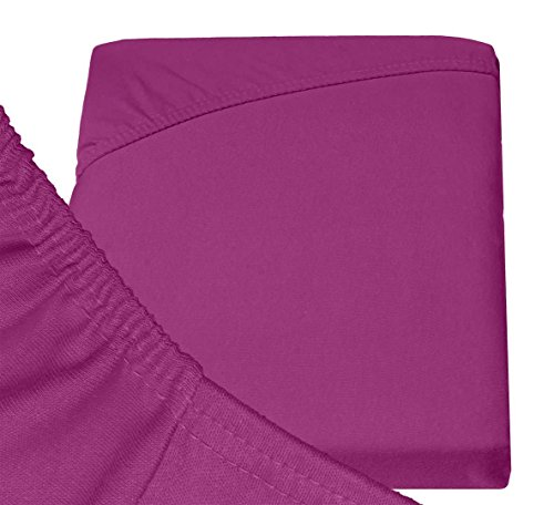 Double Jersey – Spannbettlaken 100% Baumwolle Jersey-Stretch bettlaken, Ultra Weich und Bügelfrei mit bis zu 30cm Stehghöhe, 160x200x30 Aubergine - 6