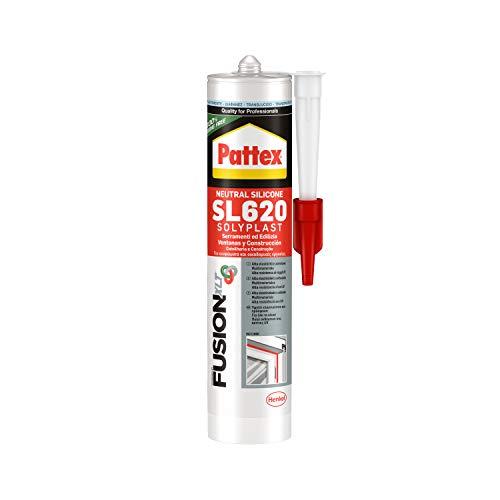 Pattex SL 620 Serramenti ed Edilizia Sigillante trasparente, Silicone per lattoneria, serramenti, ecc., Sigillante impermeabile per materiali vari, ca