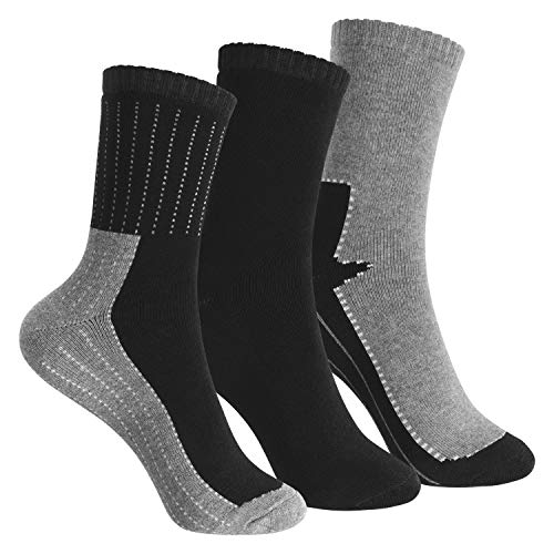 Footstar Kinder Frottee-Socken mit Motiv (3 Paar), Warme Socken mit Thermoeffekt - Schwarz 27-30