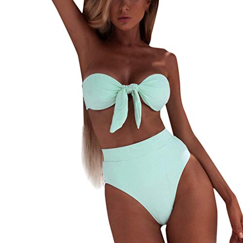 JERFER Ropa de Playa Mujer Bandeau Venda Bikini Set Traje de Baño Hacer Subir Traje de Baño Brasileño