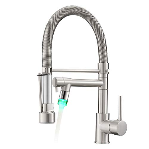 Fapully Kitchen Faucets with Pull Down Sprayer,Commercial Single Handle Kitchen Sink Faucet with LED Light,Brushed Nickel