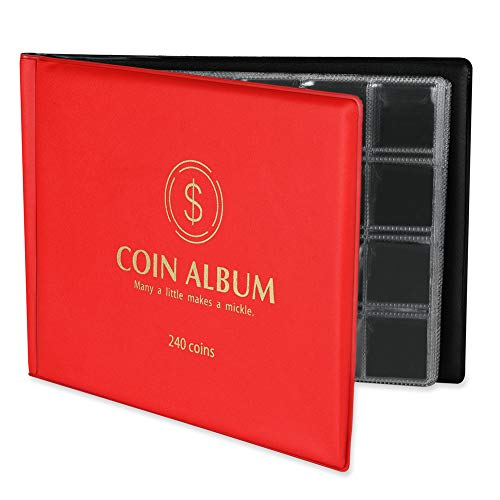 MUDOR - Soporte de colección de monedas para coleccionistas, 240 bolsillos, colección de monedas, suministros de libro (negro)