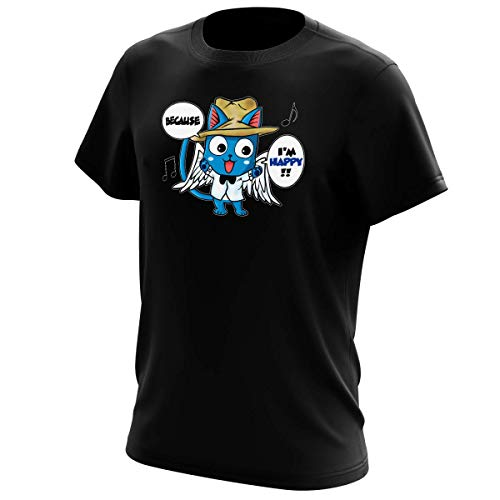 OKIWOKI T-Shirt Noir Fairy Tail parodique Happy : Happy Williams : (Parodie Fairy Tail)